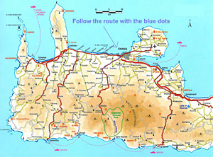 Map of the road leading to Sougia from Chania and the north coast of Crete